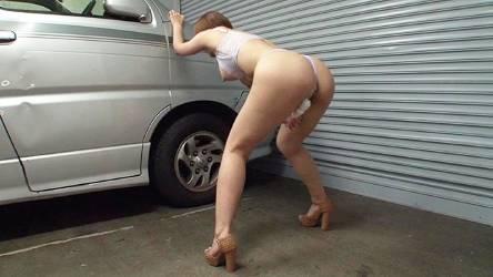 水野朝陽♡駐車場で立ちオナさせられて腰が抜けそうになるほど感じてしまうドM巨乳美女